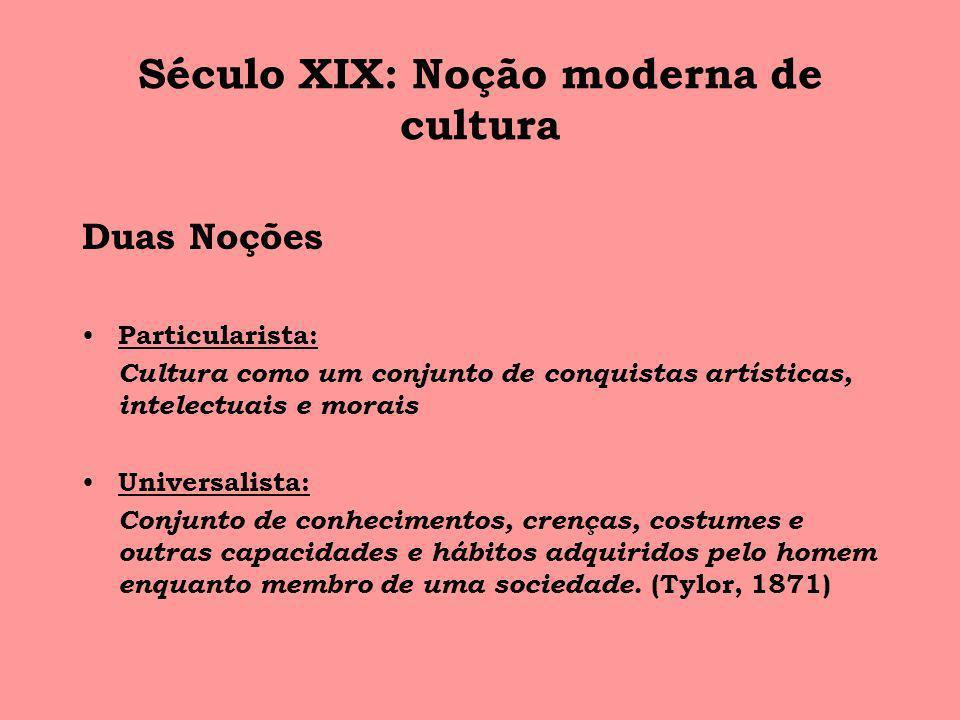 Século XIX: Noção moderna de cultura Duas Noções Particularista: Cultura como um conjunto de conquistas artísticas, intelectuais e morais Universalist