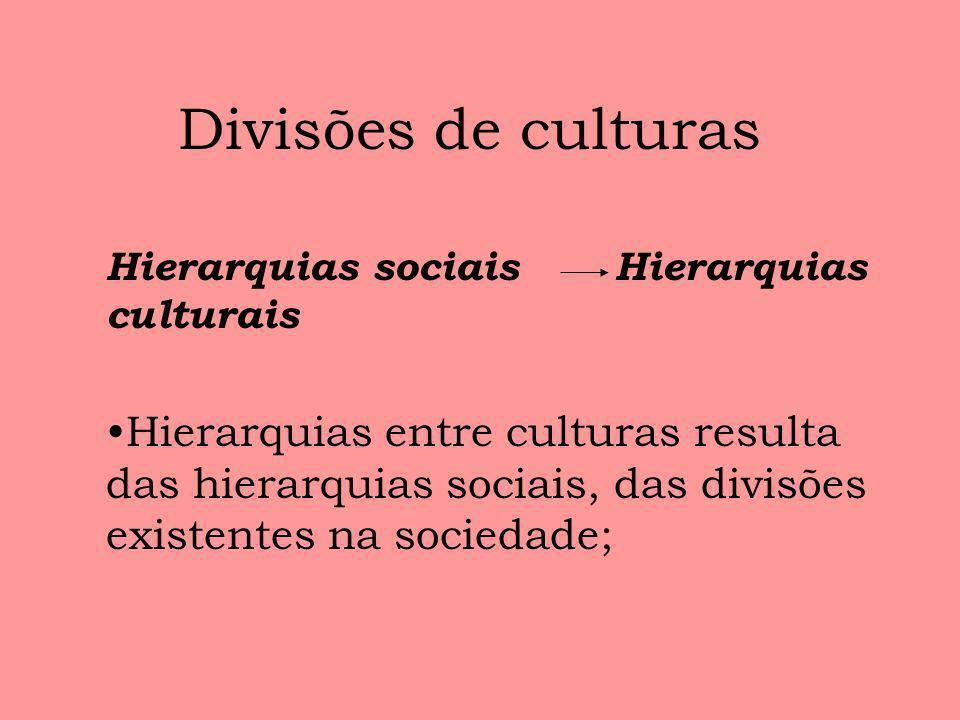 Divisões de culturas Hierarquias sociais Hierarquias culturais Hierarquias entre culturas resulta das hierarquias sociais, das divisões existentes na