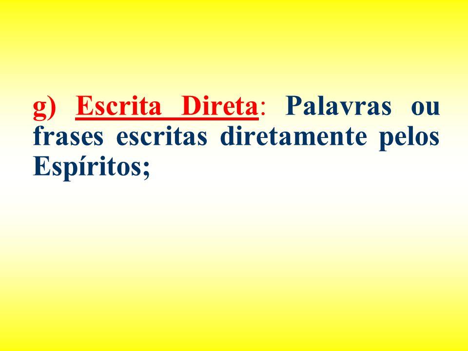 g) Escrita Direta: Palavras ou frases escritas diretamente pelos Espíritos;
