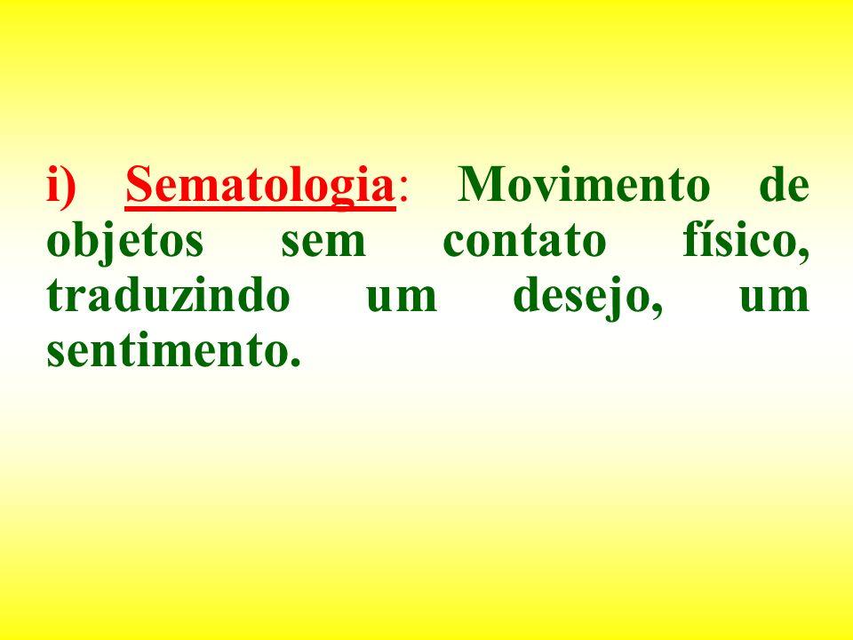 i) Sematologia: Movimento de objetos sem contato físico, traduzindo um desejo, um sentimento.