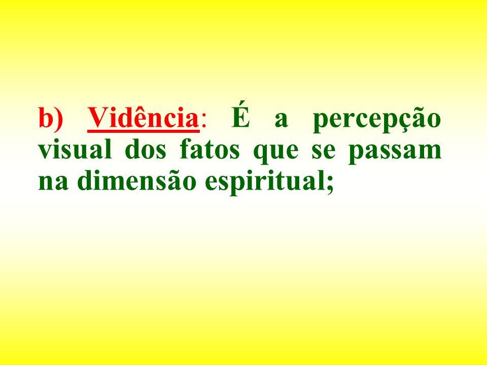 b) Vidência: É a percepção visual dos fatos que se passam na dimensão espiritual;