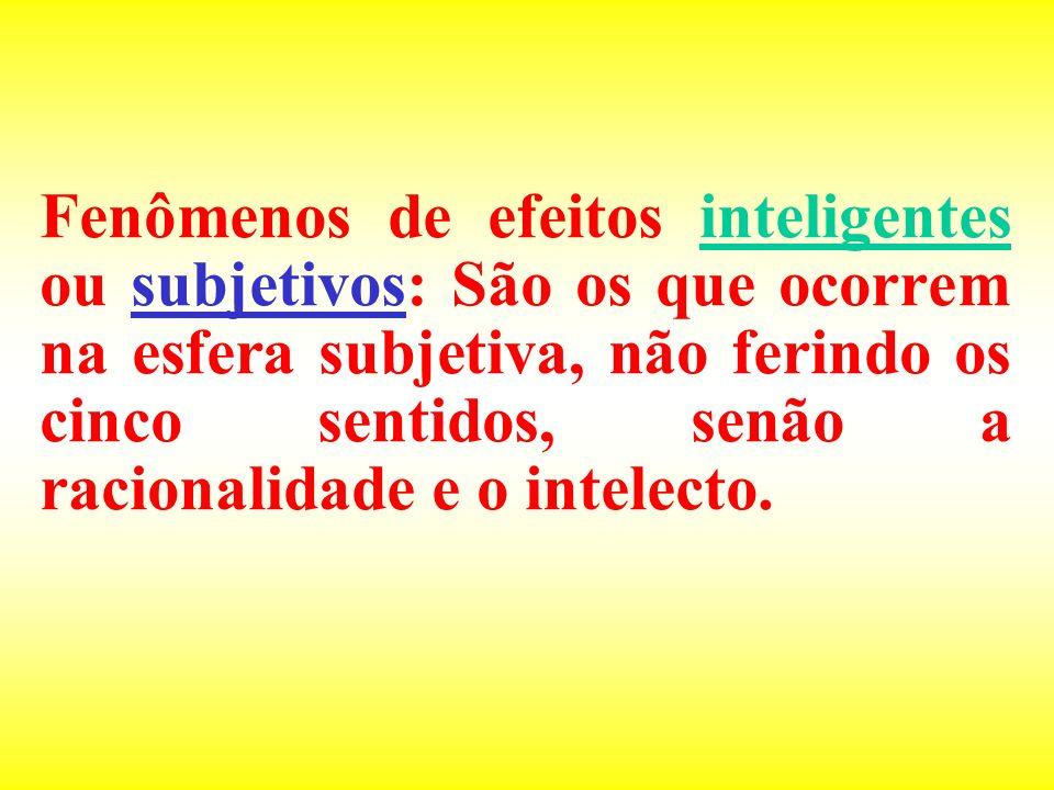 Fenômenos de efeitos inteligentes ou subjetivos: São os que ocorrem na esfera subjetiva, não ferindo os cinco sentidos, senão a racionalidade e o inte