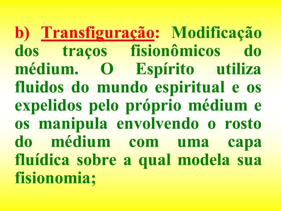 b) Transfiguração: Modificação dos traços fisionômicos do médium. O Espírito utiliza fluidos do mundo espiritual e os expelidos pelo próprio médium e