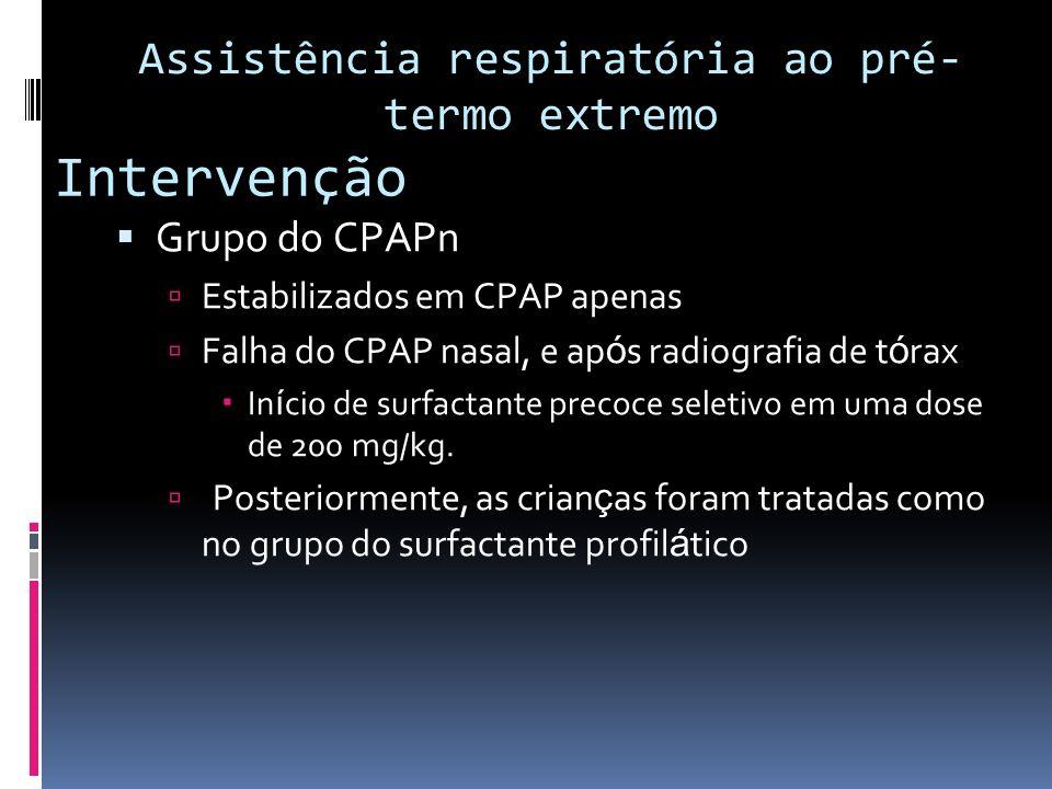 Intervenção Grupo do CPAPn Estabilizados em CPAP apenas Falha do CPAP nasal, e ap ó s radiografia de t ó rax In í cio de surfactante precoce seletivo