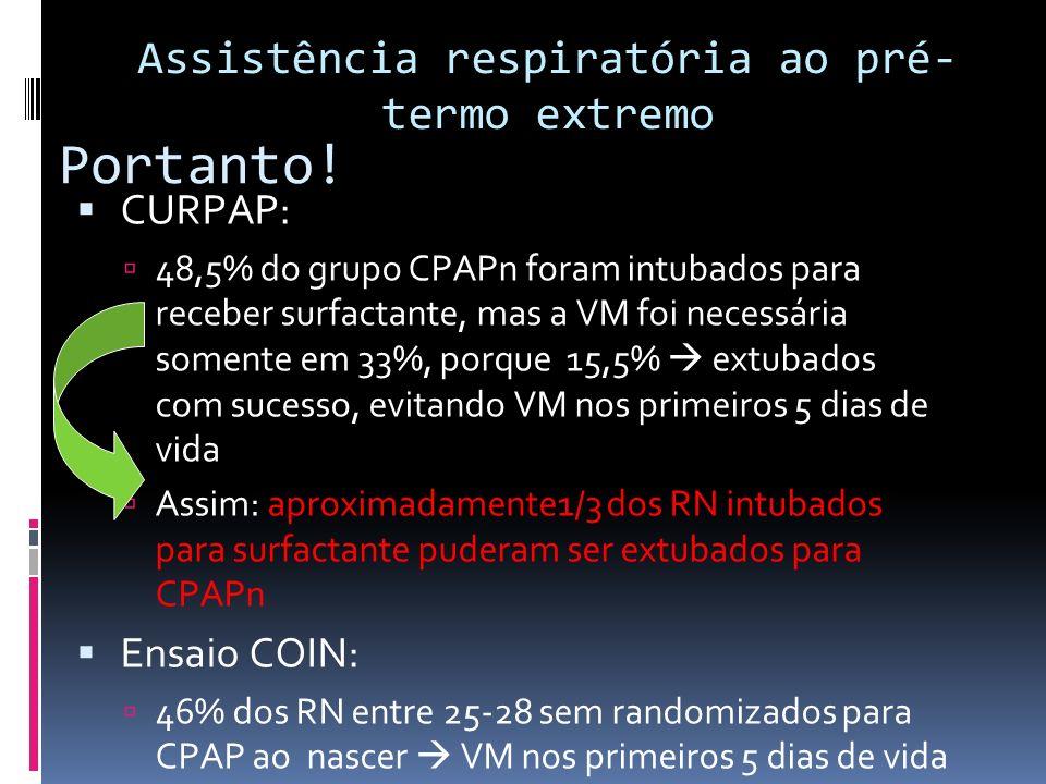 Portanto! CURPAP: 48,5% do grupo CPAPn foram intubados para receber surfactante, mas a VM foi necessária somente em 33%, porque 15,5% extubados com su
