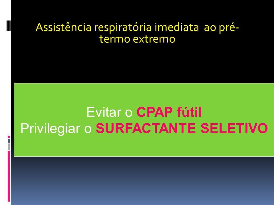 Evitar o CPAP fútil Privilegiar o SURFACTANTE SELETIVO Assistência respiratória imediata ao pré- termo extremo