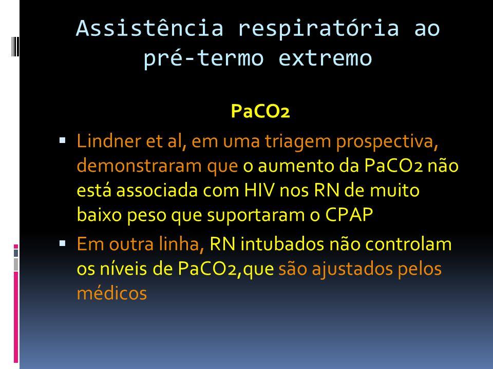 PaCO2 Lindner et al, em uma triagem prospectiva, demonstraram que o aumento da PaCO2 não está associada com HIV nos RN de muito baixo peso que suporta