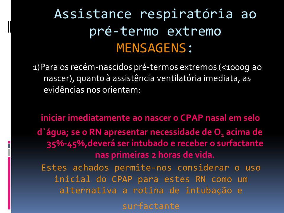 Evitar o CPAP fútil Privilegiar o SURFACTANTE SELETIVO Assistência respiratória imediata ao pré- termo extremo Lembrem-se que as evidências mudam em decorrer do tempo, pois se não validarmos nossas condutas podemos causar mais mal do que bem para o recém-nascido (Guinsburg,2010)