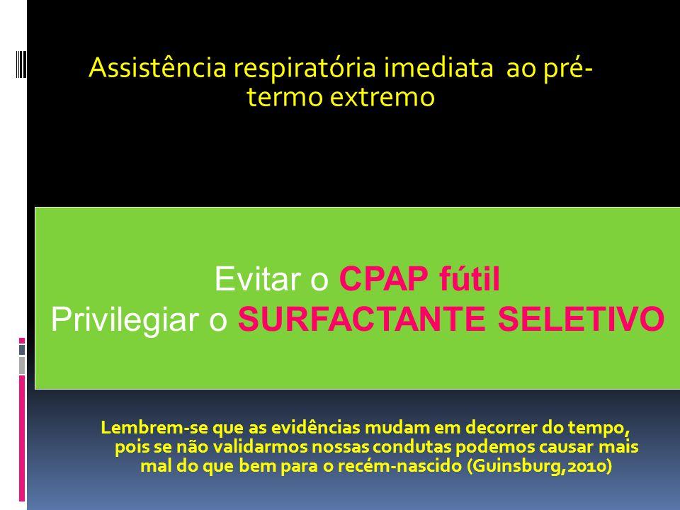 Evitar o CPAP fútil Privilegiar o SURFACTANTE SELETIVO Assistência respiratória imediata ao pré- termo extremo Lembrem-se que as evidências mudam em d