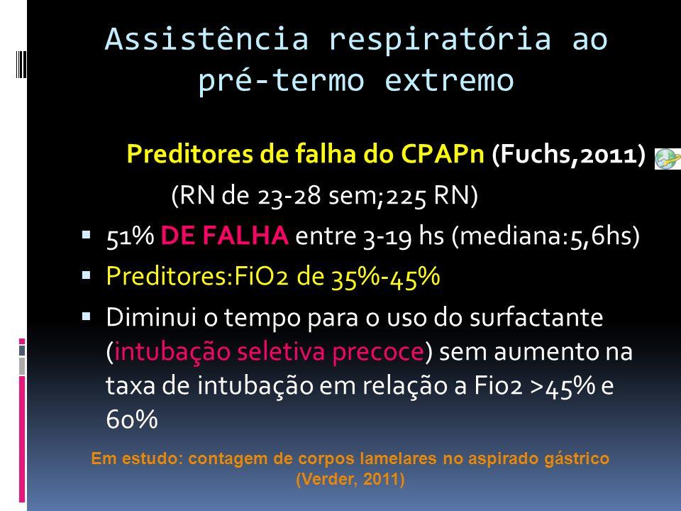Preditores de falha do CPAPn (Fuchs,2011) (RN de 23-28 sem;225 RN) 51% DE FALHA entre 3-19 hs (mediana:5,6hs) Preditores:FiO2 de 35%-45% Diminui o tempo para o uso do surfactante (intubação seletiva precoce) sem aumento na taxa de intubação em relação a Fio2 >45% e 60% Assistência respiratória ao pré-termo extremo Em estudo: contagem de corpos lamelares no aspirado gástrico (Verder, 2011)