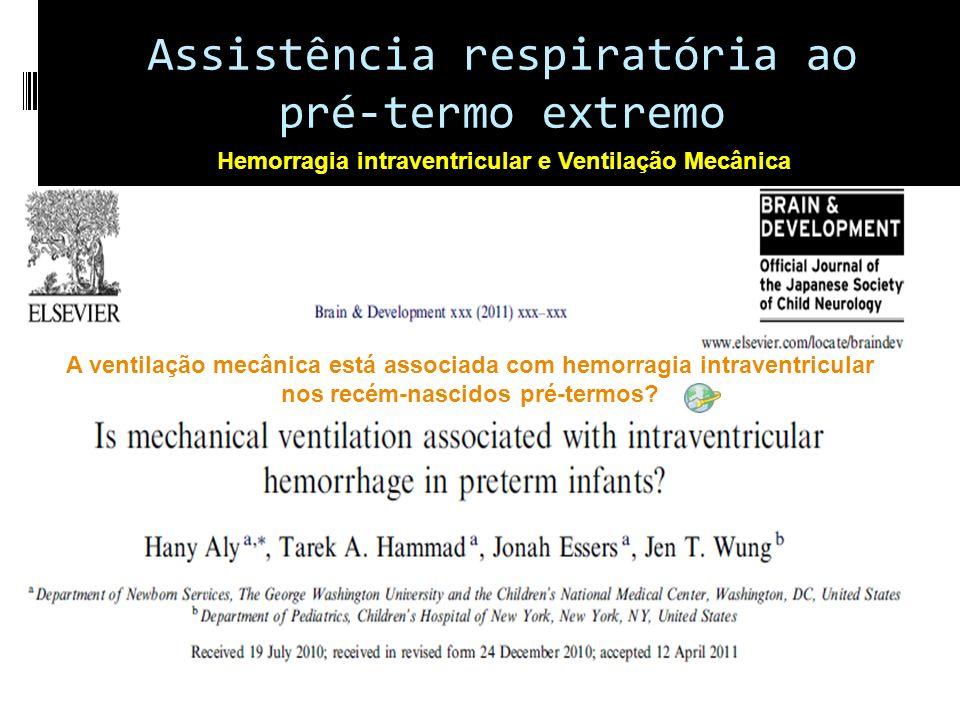 A ventilação mecânica está associada com hemorragia intraventricular nos recém-nascidos pré-termos.