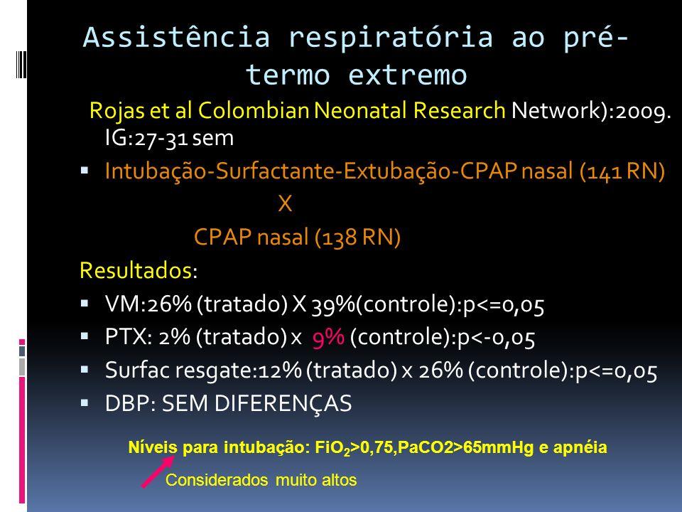 Pós-extubação (tipo de prongas: uni ou bilaterais) Davis PG (2001) : VNI (CPAP ciclado) VNI (CPAP ciclado) Pronga uni lateral: 88% de falha pronga bilateral: 24% de falha RN <800G