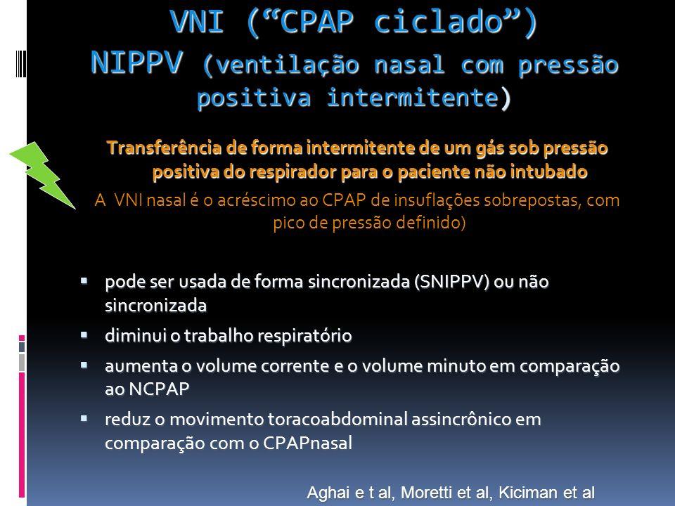 VNI (CPAP ciclado) NIPPV (ventilação nasal com pressão positiva intermitente) Transferência de forma intermitente de um gás sob pressão positiva do respirador para o paciente não intubado A VNI nasal é o acréscimo ao CPAP de insuflações sobrepostas, com pico de pressão definido) pode ser usada de forma sincronizada (SNIPPV) ou não sincronizada pode ser usada de forma sincronizada (SNIPPV) ou não sincronizada diminui o trabalho respiratório diminui o trabalho respiratório aumenta o volume corrente e o volume minuto em comparação ao NCPAP aumenta o volume corrente e o volume minuto em comparação ao NCPAP reduz o movimento toracoabdominal assincrônico em comparação com o CPAPnasal reduz o movimento toracoabdominal assincrônico em comparação com o CPAPnasal Aghai e t al, Moretti et al, Kiciman et al