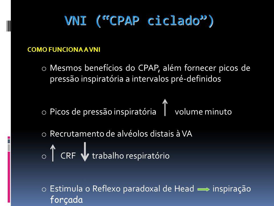 COMO FUNCIONA A VNI o Mesmos benefícios do CPAP, além fornecer picos de pressão inspiratória a intervalos pré-definidos o Picos de pressão inspiratória volume minuto o Recrutamento de alvéolos distais à VA o CRF trabalho respiratório o Estimula o Reflexo paradoxal de Head inspiração forçada VNI (CPAP ciclado)
