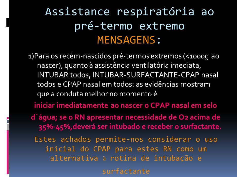 Estes achados permite-nos considerar o uso inicial do CPAP para estes RN como um alternativa à rotina de intubação e surfactante 1)Para os recém-nascidos pré-termos extremos (<1000g ao nascer), quanto à assistência ventilatória imediata, INTUBAR todos, INTUBAR-SURFACTANTE-CPAP nasal todos e CPAP nasal em todos: as evidências mostram que a conduta melhor no momento é iniciar imediatamente ao nascer o CPAP nasal em selo d`água; se o RN apresentar necessidade de O2 acima de 35%-45%,deverá ser intubado e receber o surfactante.