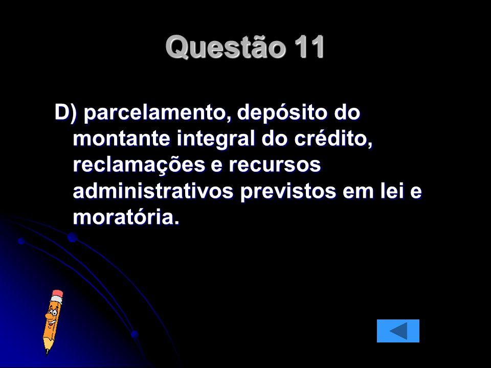 D) parcelamento, depósito do montante integral do crédito, reclamações e recursos administrativos previstos em lei e moratória.