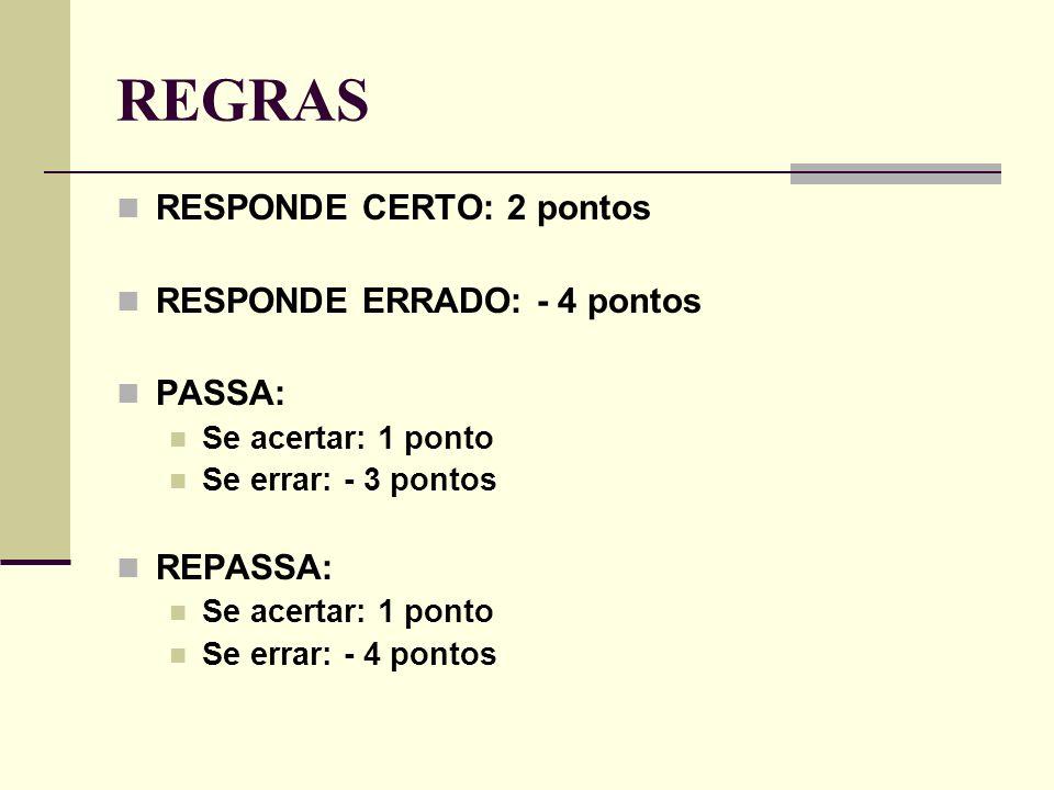 REGRAS RESPONDE CERTO: 2 pontos RESPONDE ERRADO: - 4 pontos PASSA: Se acertar: 1 ponto Se errar: - 3 pontos REPASSA: Se acertar: 1 ponto Se errar: - 4