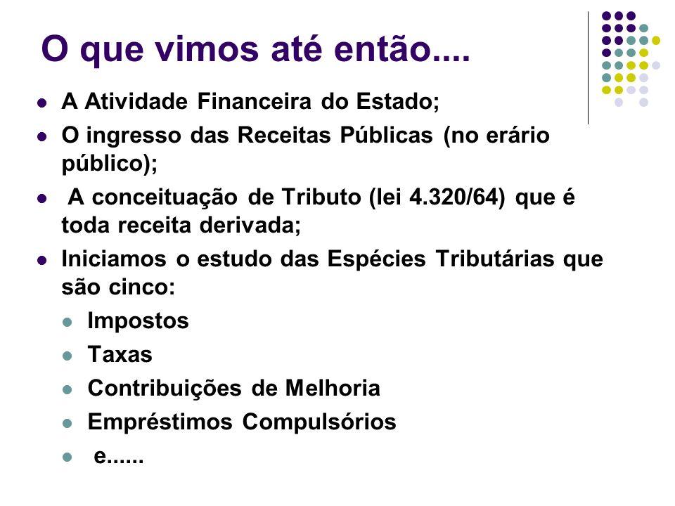 O que vimos até então.... A Atividade Financeira do Estado; O ingresso das Receitas Públicas (no erário público); A conceituação de Tributo (lei 4.320