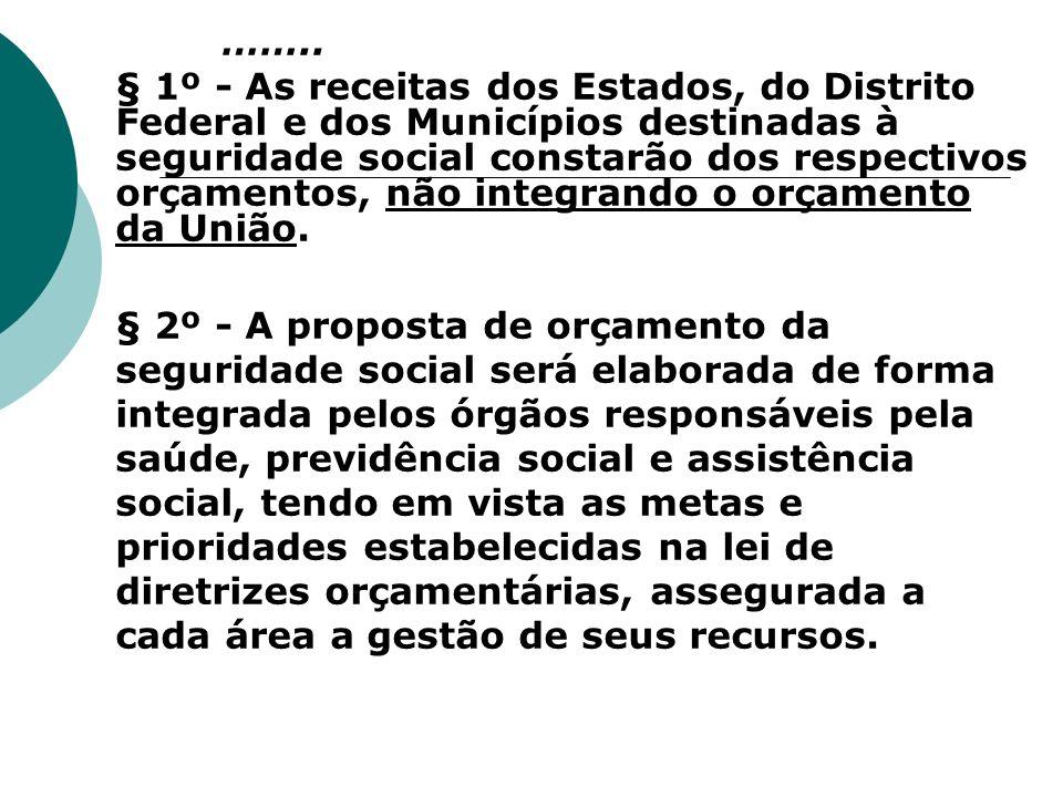 …….. § 1º - As receitas dos Estados, do Distrito Federal e dos Municípios destinadas à seguridade social constarão dos respectivos orçamentos, não int