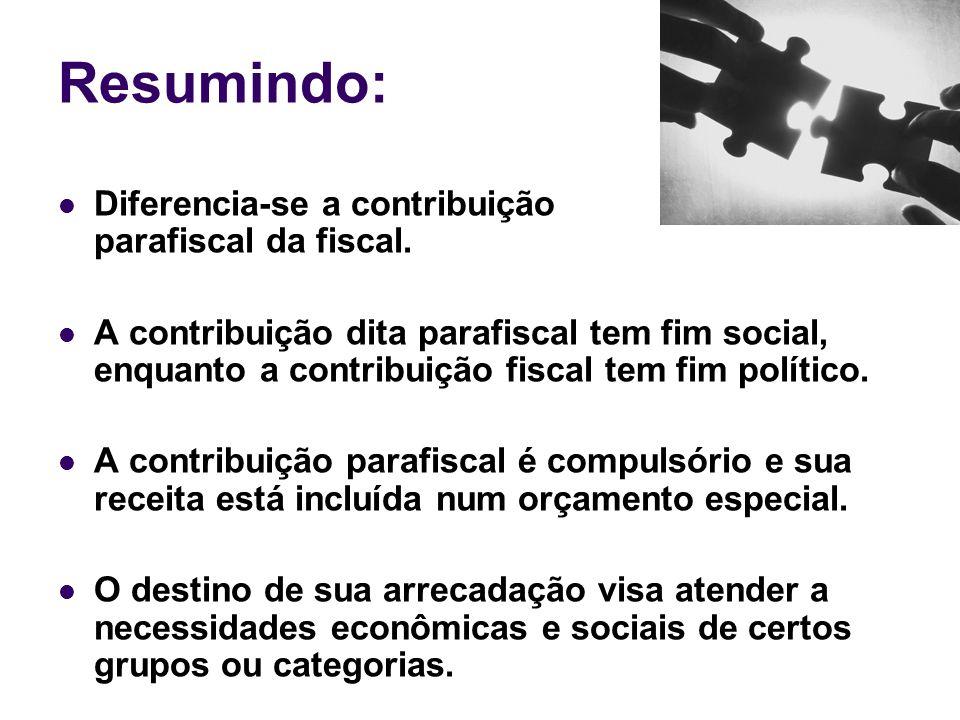Resumindo: Diferencia-se a contribuição parafiscal da fiscal. A contribuição dita parafiscal tem fim social, enquanto a contribuição fiscal tem fim po