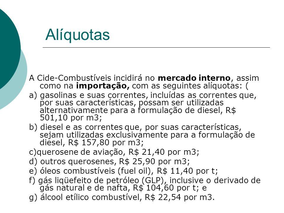 Alíquotas A Cide-Combustíveis incidirá no mercado interno, assim como na importação, com as seguintes alíquotas: ( a) gasolinas e suas correntes, incl