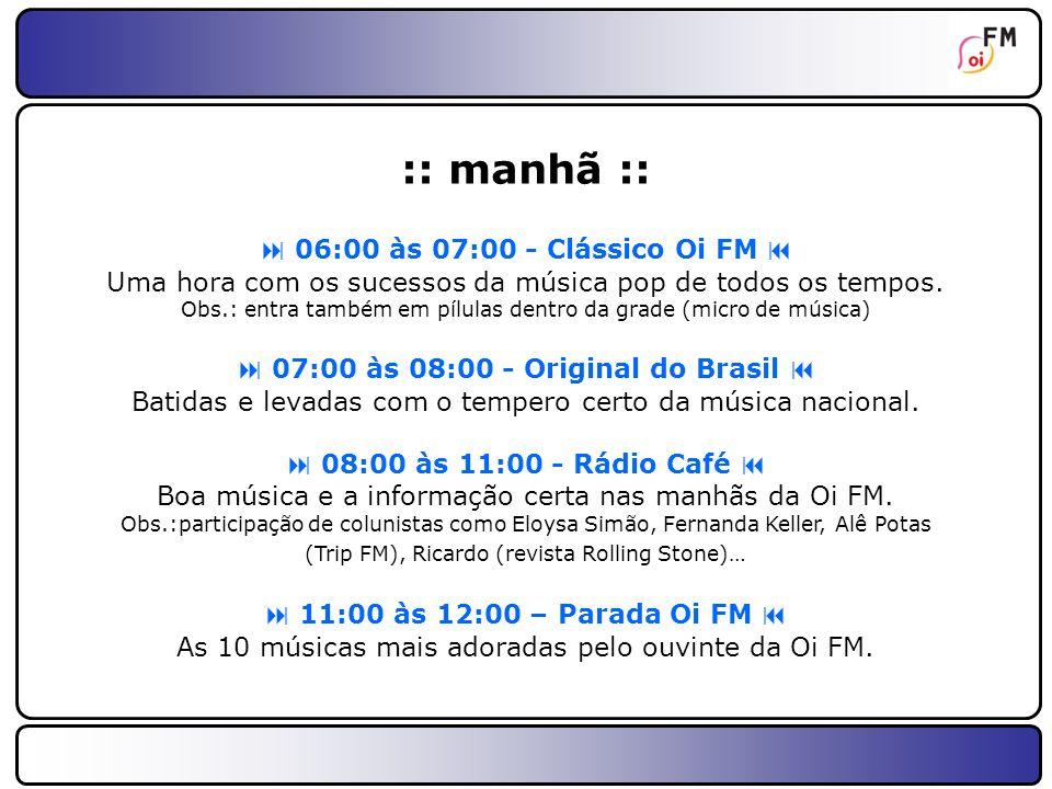 13 :: tarde :: 12:00 às 13:00 - Rock Bola (RJ)/Oi FM É Música (rede) Informação em segundo lugar.