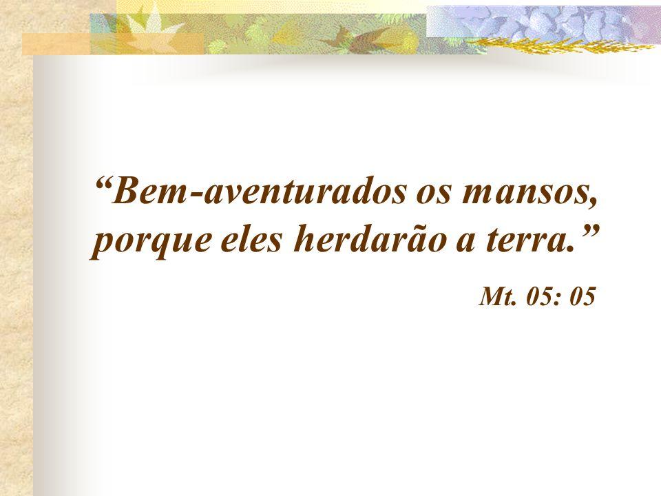 Bem-aventurados os mansos, porque eles herdarão a terra. Mt. 05: 05
