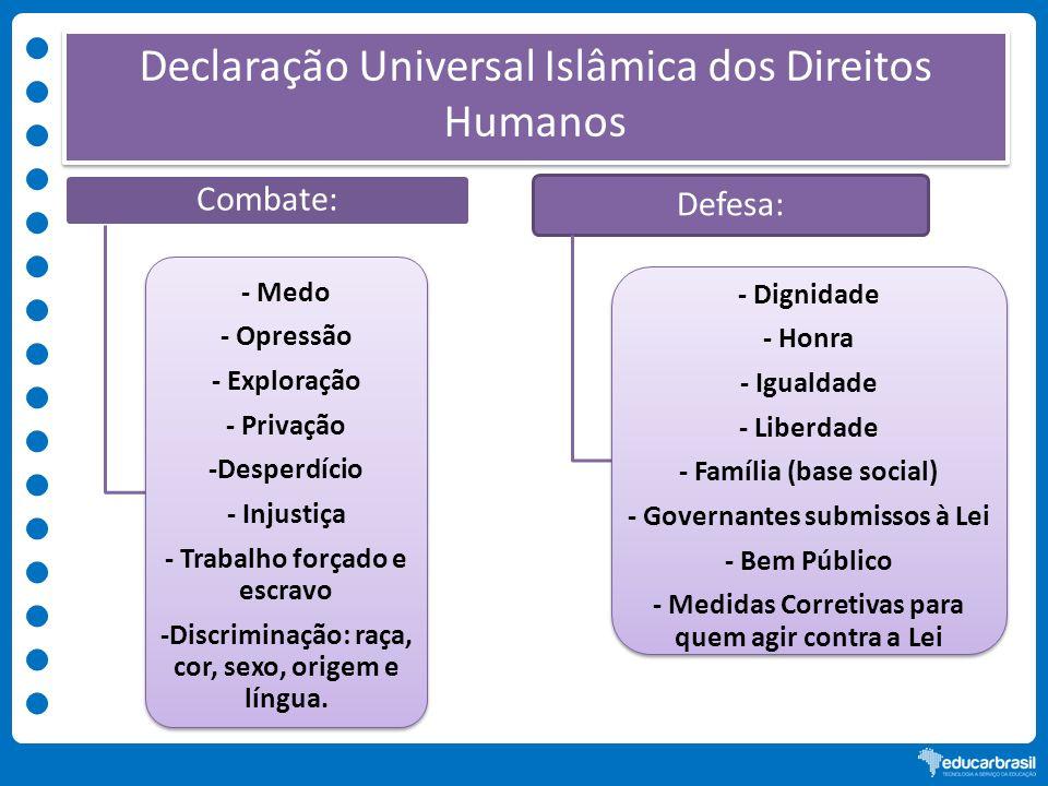 Declaração Universal Islâmica dos Direitos Humanos Combate: - Medo - Opressão - Exploração - Privação -Desperdício - Injustiça - Trabalho forçado e es