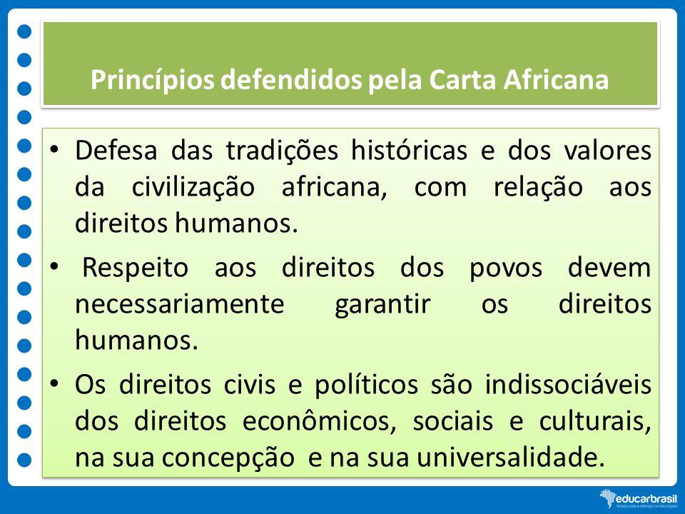 Princípios defendidos pela Carta Africana Defesa das tradições históricas e dos valores da civilização africana, com relação aos direitos humanos. Res