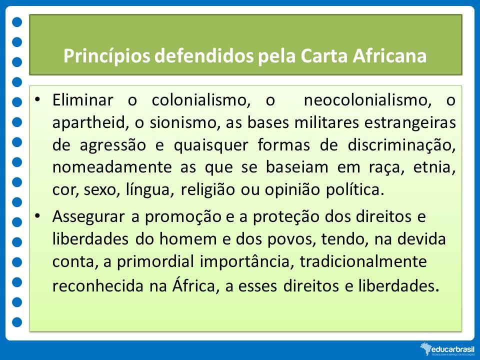Princípios defendidos pela Carta Africana Eliminar o colonialismo, o neocolonialismo, o apartheid, o sionismo, as bases militares estrangeiras de agre