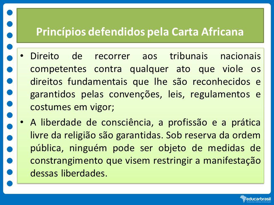 Princípios defendidos pela Carta Africana Direito de recorrer aos tribunais nacionais competentes contra qualquer ato que viole os direitos fundamenta