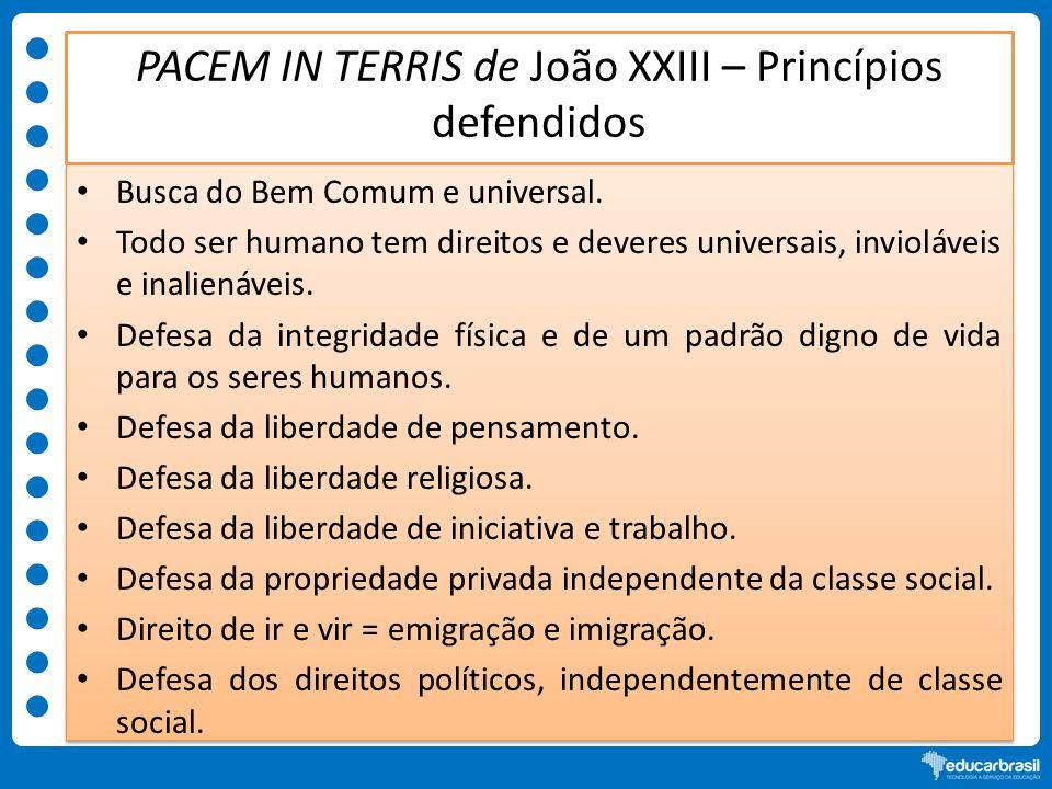 PACEM IN TERRIS de João XXIII – Princípios defendidos Busca do Bem Comum e universal. Todo ser humano tem direitos e deveres universais, invioláveis e