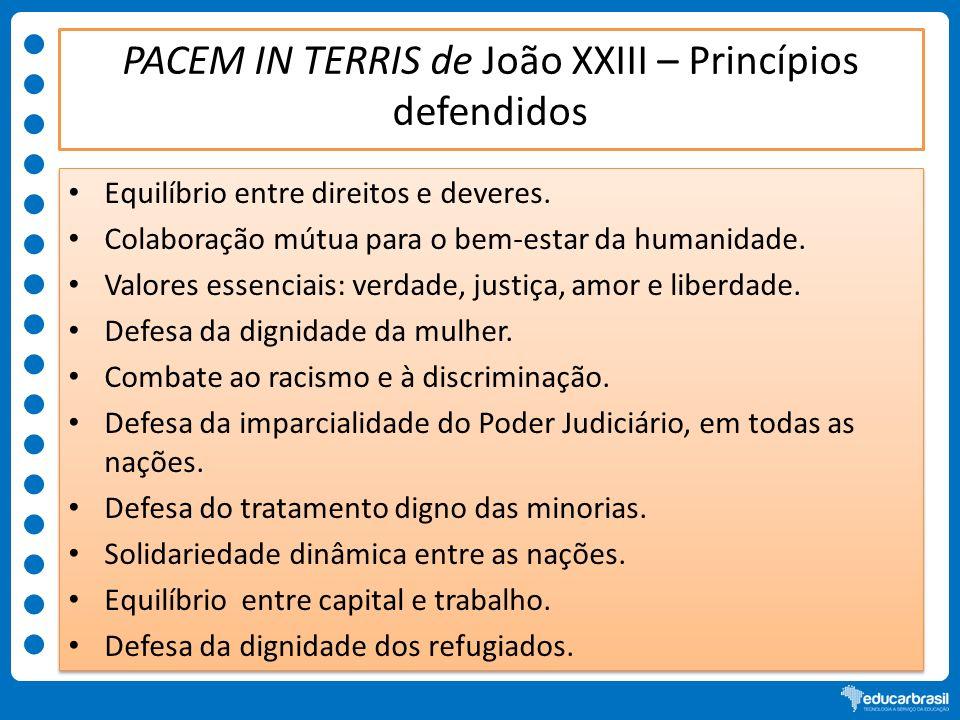 PACEM IN TERRIS de João XXIII – Princípios defendidos Equilíbrio entre direitos e deveres. Colaboração mútua para o bem-estar da humanidade. Valores e