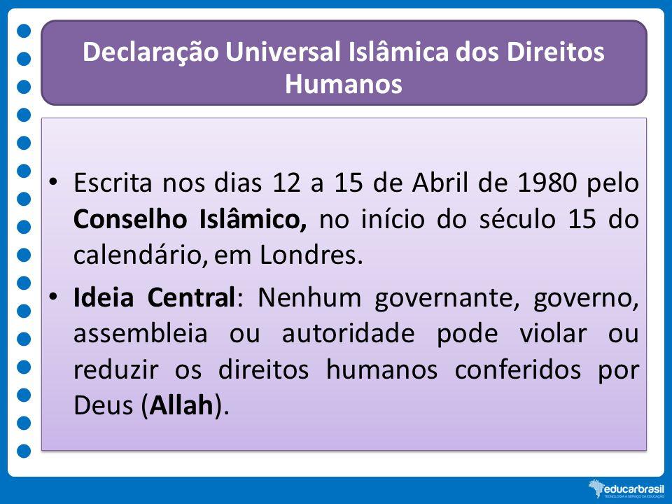 Declaração Universal Islâmica dos Direitos Humanos Escrita nos dias 12 a 15 de Abril de 1980 pelo Conselho Islâmico, no início do século 15 do calendá