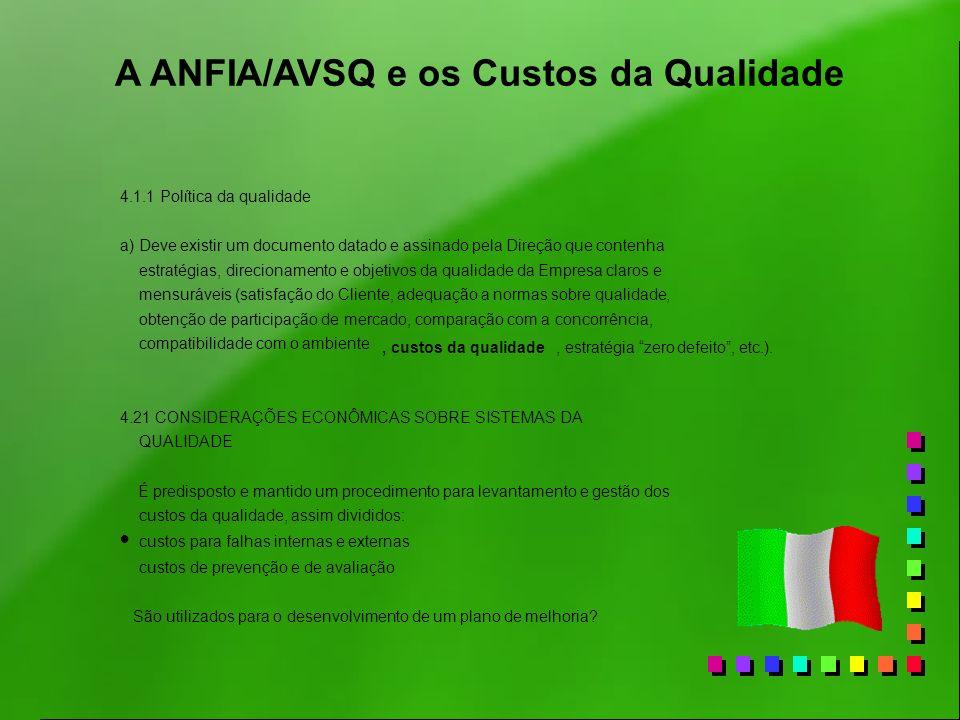 A ANFIA/AVSQ e os Custos da Qualidade 4.1.1 Política da qualidade a) Deve existir um documento datado e assinado pela Direção que contenha estratégias