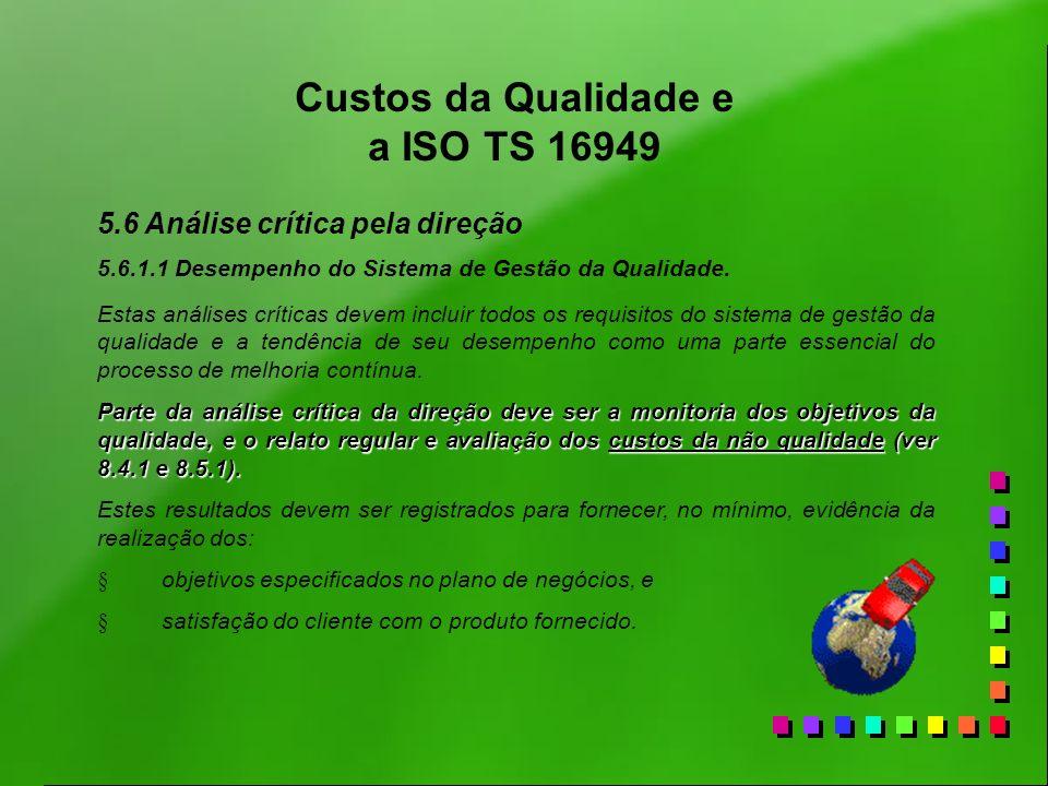 Custos da Qualidade e a ISO TS 16949 5.6 Análise crítica pela direção 5.6.1.1 Desempenho do Sistema de Gestão da Qualidade. Estas análises críticas de