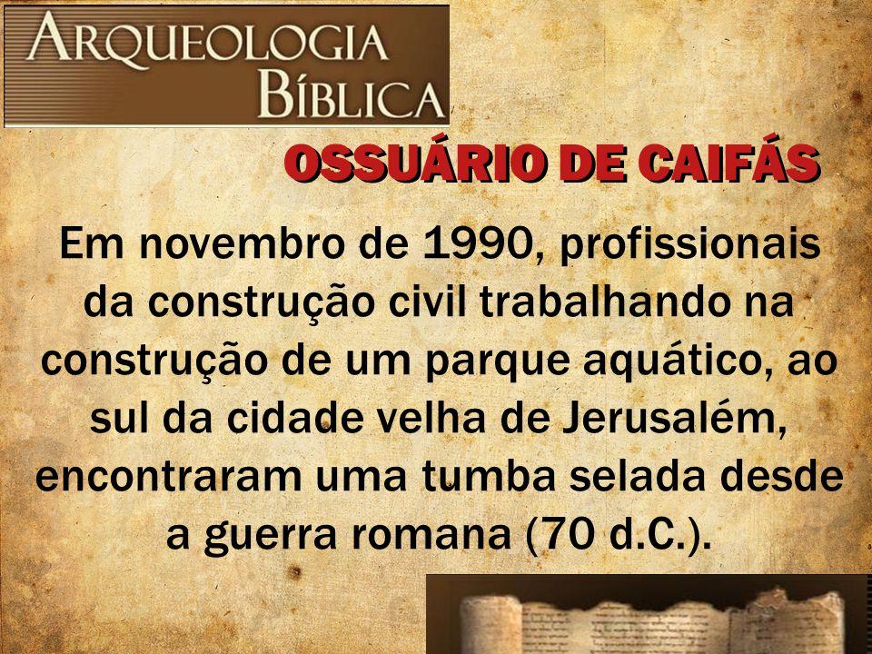 Em novembro de 1990, profissionais da construção civil trabalhando na construção de um parque aquático, ao sul da cidade velha de Jerusalém, encontrar