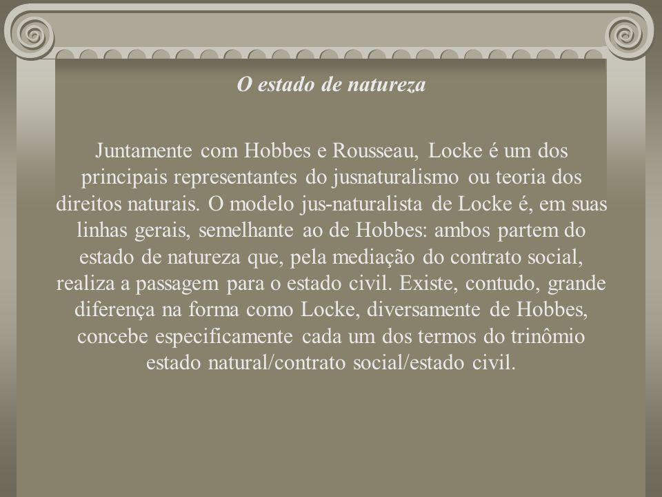 O estado de natureza Juntamente com Hobbes e Rousseau, Locke é um dos principais representantes do jusnaturalismo ou teoria dos direitos naturais. O m