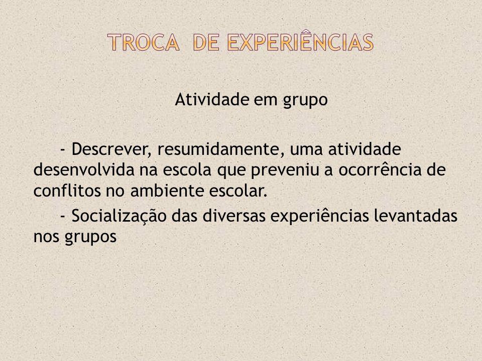 Atividade em grupo - Descrever, resumidamente, uma atividade desenvolvida na escola que preveniu a ocorrência de conflitos no ambiente escolar. - Soci