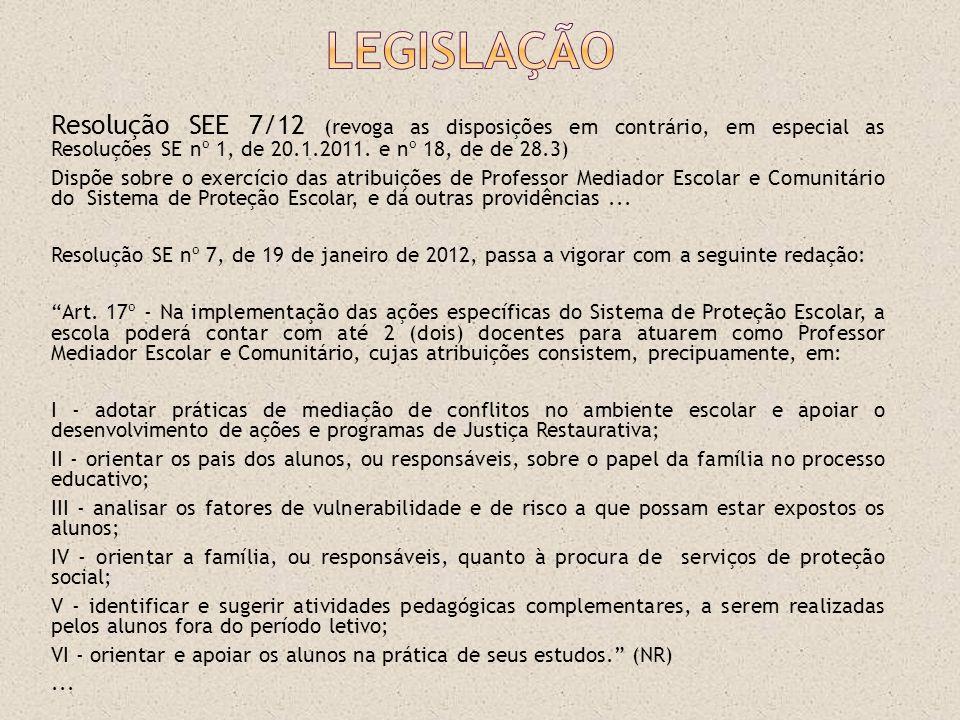 Resolução SEE 7/12 (revoga as disposições em contrário, em especial as Resoluções SE nº 1, de 20.1.2011. e nº 18, de de 28.3) Dispõe sobre o exercício