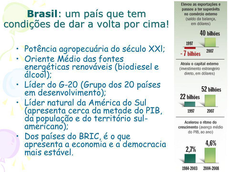 Brasil: um país que tem condições de dar a volta por cima! Potência agropecuária do século XXl; Oriente Médio das fontes energéticas renováveis (biodi