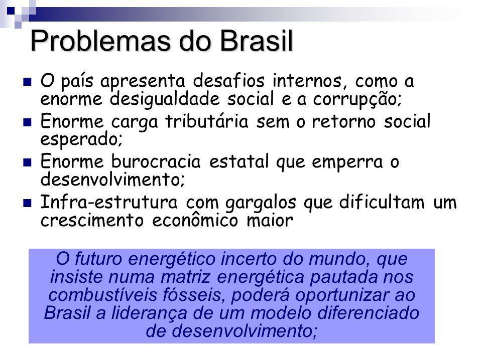Problemas do Brasil O país apresenta desafios internos, como a enorme desigualdade social e a corrupção; Enorme carga tributária sem o retorno social