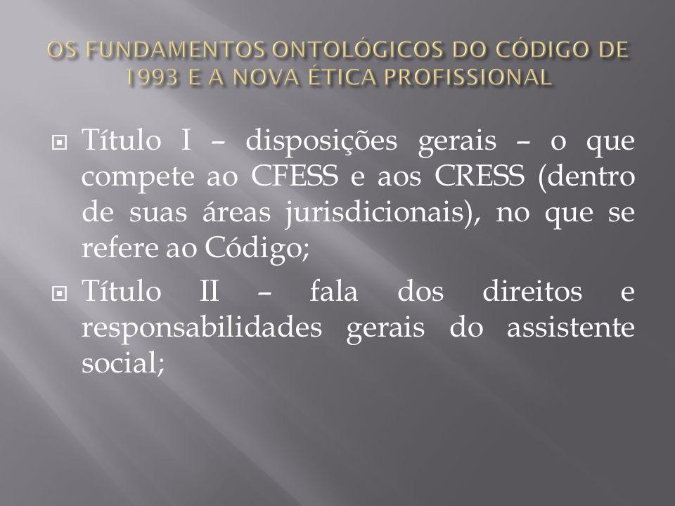 Título I – disposições gerais – o que compete ao CFESS e aos CRESS (dentro de suas áreas jurisdicionais), no que se refere ao Código; Título II – fala