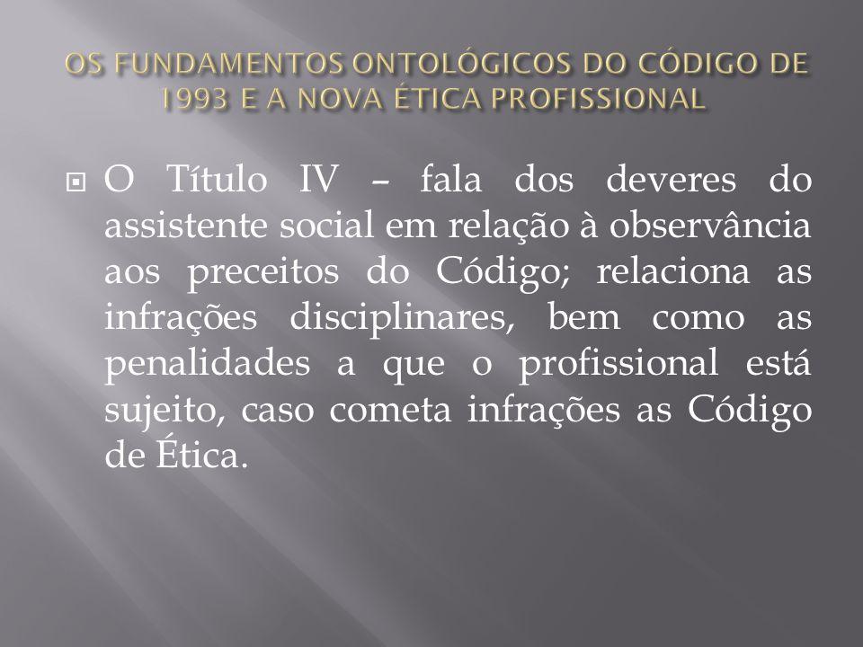 O Título IV – fala dos deveres do assistente social em relação à observância aos preceitos do Código; relaciona as infrações disciplinares, bem como a