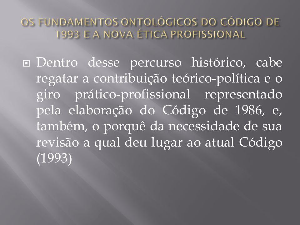 Dentro desse percurso histórico, cabe regatar a contribuição teórico-política e o giro prático-profissional representado pela elaboração do Código de
