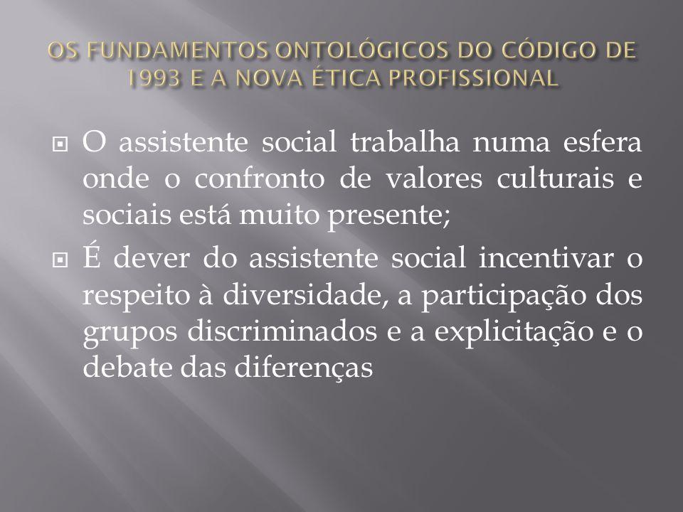 O assistente social trabalha numa esfera onde o confronto de valores culturais e sociais está muito presente; É dever do assistente social incentivar