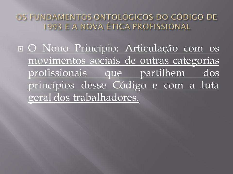O Nono Princípio: Articulação com os movimentos sociais de outras categorias profissionais que partilhem dos princípios desse Código e com a luta gera