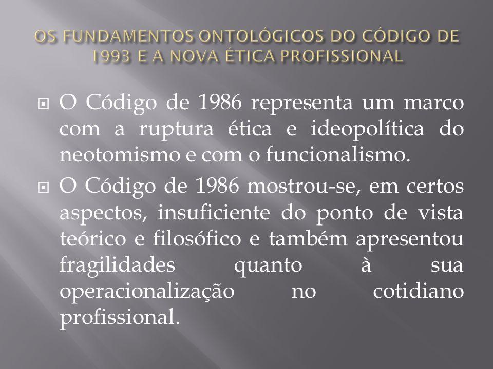 A revisão do Código de 1986 teve como pressuposto a consolidação do projeto profissional nele evidenciado, numa perspectiva superadora, ou seja, de garantir suas conquistas e ao mesmo tempo superar suas debilidades.