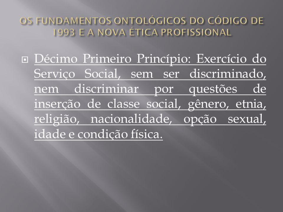 Décimo Primeiro Princípio: Exercício do Serviço Social, sem ser discriminado, nem discriminar por questões de inserção de classe social, gênero, etnia