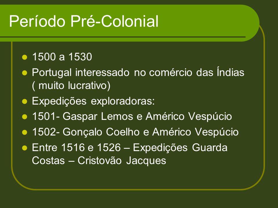 Período Pré-Colonial 1500 a 1530 Portugal interessado no comércio das Índias ( muito lucrativo) Expedições exploradoras: 1501- Gaspar Lemos e Américo
